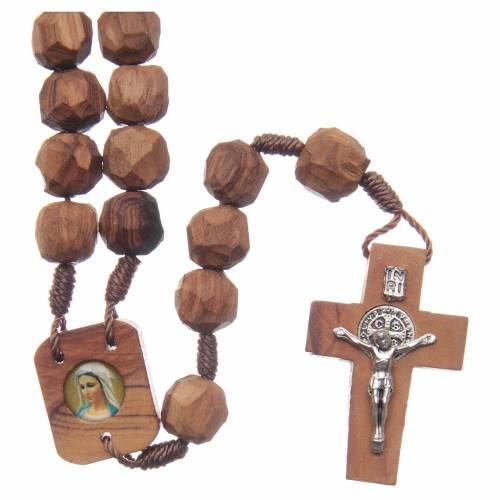 Chapelet Medjugorje bois d'olivier sur corde coeur s1