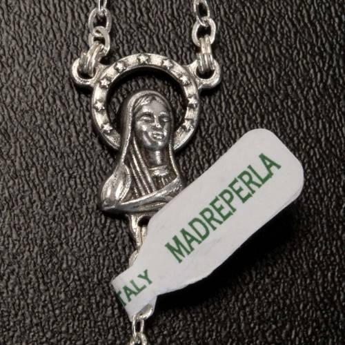 Chapelet nacre véritable médaille Notre Dame 6mm s5