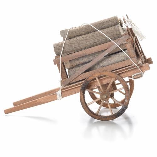 Charrette avec bois crèche napolitaine 10x18x8 cm s2