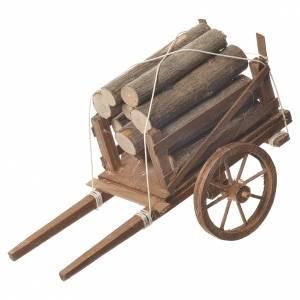 Charrette avec bois crèche napolitaine 18x6 cm s1