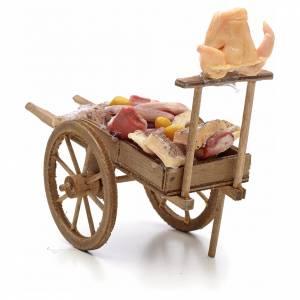 Charrette avec viande et lard, accessoire crèche Napolitaine s3