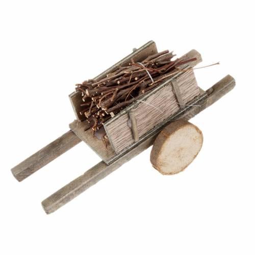 Charrette bois avec fagot miniature crèche noël s1
