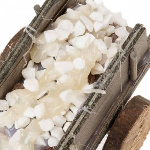 Charrette bois avec pierres miniature crèche noël s3