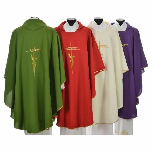 Chasuble broderie épi sur croix en polyester s2