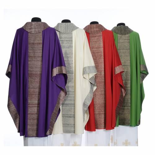 Chasuble en laine avec bandes appliquées en soie s2