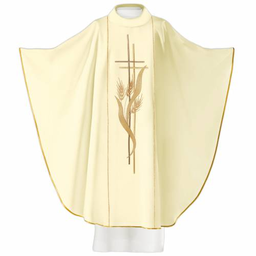 Chasuble in 80% polyester 20% wool, cross and ears of wheat s2
