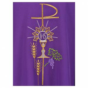 Chasuble in polyester with Chi-Rho monstrance chalice and wheat s7