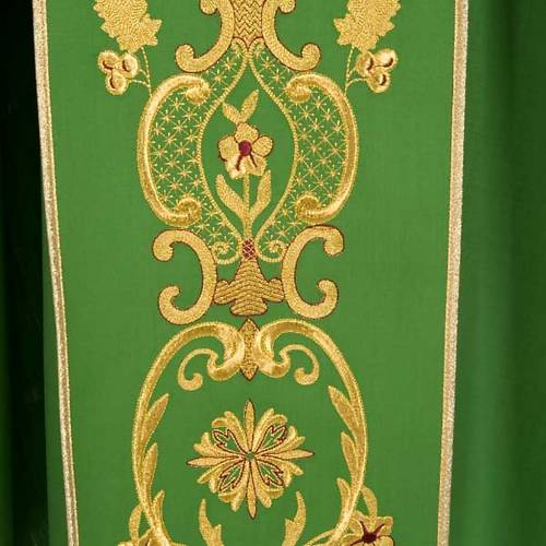 Chasuble in wool with gold flowers and ears of wheat s4