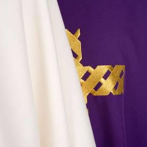 Chasuble liturgique broderie croix dorée s7