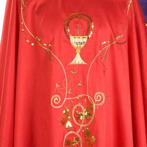 Chasuble liturgique broderie dorée calice Chi-Rho lierre s3