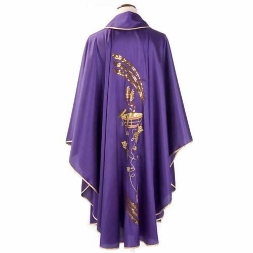 Chasuble liturgique broderie dorée épis, patène, raisins s2
