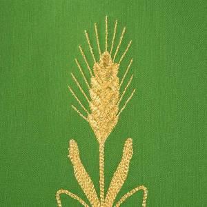 Chasuble liturgique fleurs épis dorés 100% laine s6