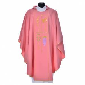 Chasuble liturgique rose 100% polyester épis raisins s1