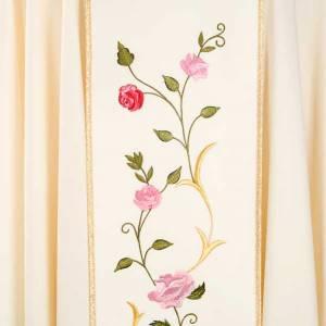 Chasuble Mariale décor roses colorées 100% laine avec capuchon s4