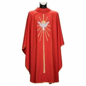 Chasuble rouge avec Saint Esprit et flammes s1