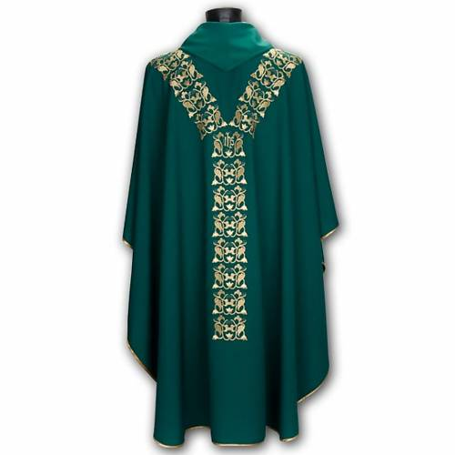 Chasuble with stole, IHS embroidery s6