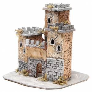 Château en liège crèche napolitaine 28x26x26 cm s2