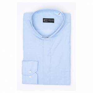 Chemise clergy m. longues Fil à fil Mixte coton Bleu clair s3