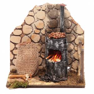 Fireplaces and ovens: Chestnut seller furnace with 2 battery led lights 15x15x10 cm