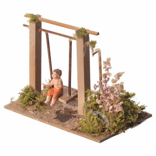 Child on swing, animated nativity figurine 10cm s2
