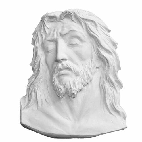 Christ's face, 24 cm bas-relief in reconstituted carrara marble s1