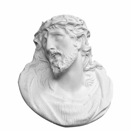 Christ's face bas-relief in reconstituted carrara, 11 cm s1