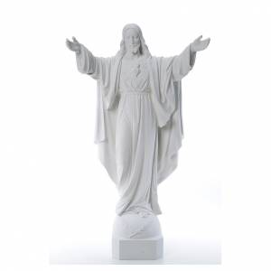 Reconstituted marble religious statues: Christ the Redeemer in reconstituted Carrara Marble, 100 cm