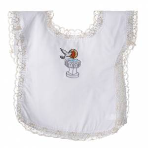 Baptism clothes and candles: Christening dress with dove, flame and water symbols