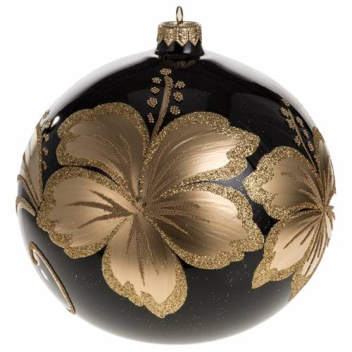 Christmas bauble, black blown glass and golden flower 15cm s1