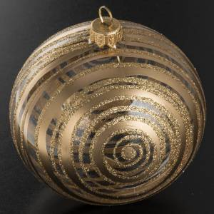 Christmas bauble, blown glass golden and transparent 10cm s2