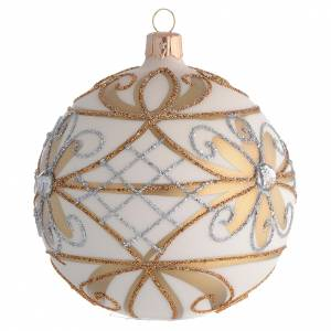Christmas Bauble cream & gold with silver flowers 10cm s2