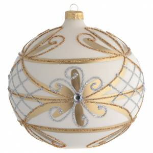 Christmas balls: Christmas Bauble cream & gold with silver flowers 15cm