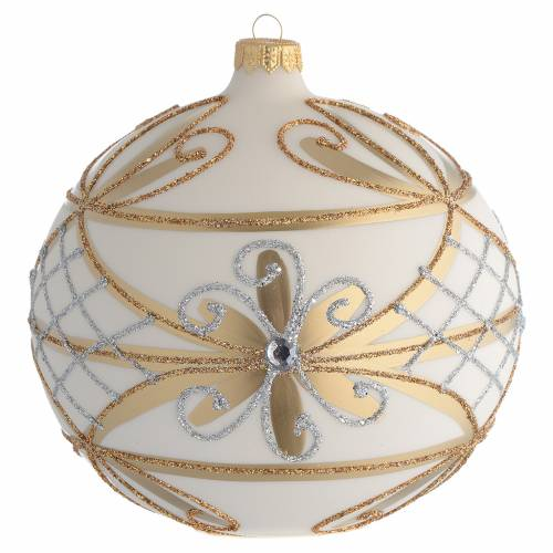 Christmas Bauble cream & gold with silver flowers 15cm s1