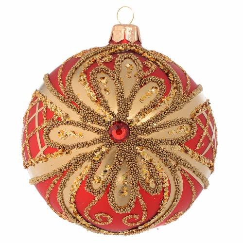 Christmas Bauble glittery red and gold 10cm s1