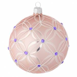 Christmas balls: Christmas bauble in blown glass, pink and violet 100mm