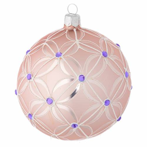 Christmas bauble in blown glass, pink and violet 100mm s1