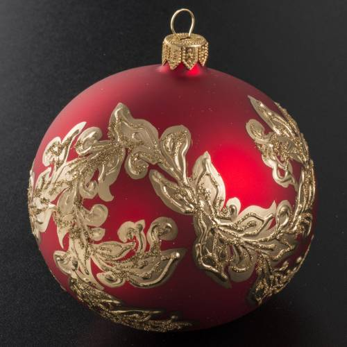 Christmas bauble in blown glass, red with gold leaves, 10cm s2
