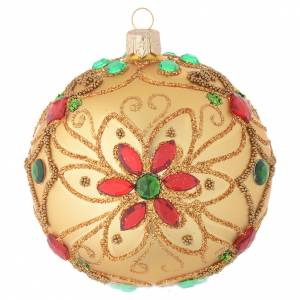 Christmas balls: Christmas bauble in blown glass with floral gold and red decoration 100mm