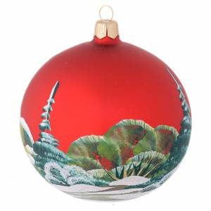 Christmas bauble in red blown glass with decoupage snowman 100mm s2