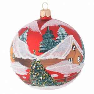 Christmas balls: Christmas bauble in red blown glass with houses 100mm