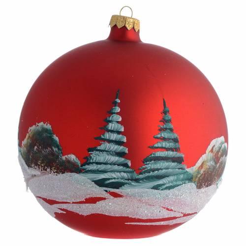 Christmas Bauble red landscape 15cm s2