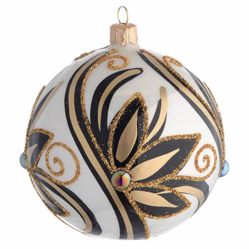 Christmas Bauble shiny black and gold 10cm s1