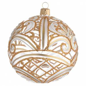 Christmas Bauble transparent and gold 10cm s2
