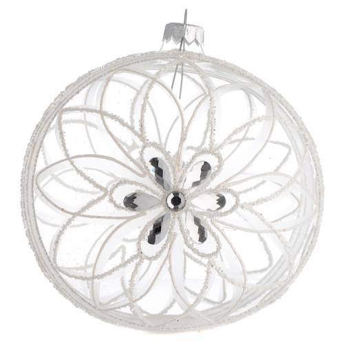 Christmas Bauble transparent and white flower 15cm s1