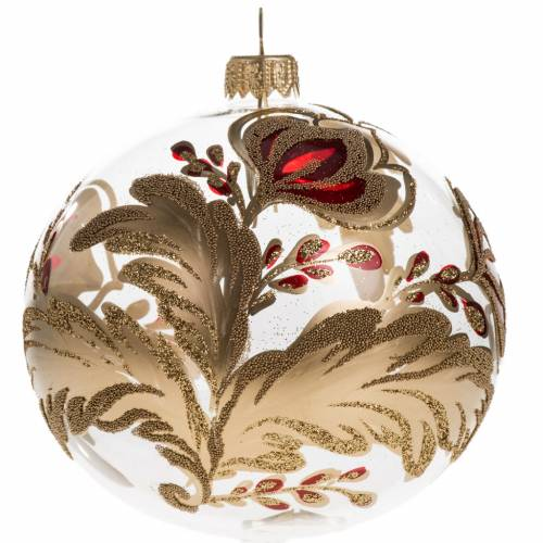Christmas bauble, transparent blown glass with flowers 10cm s1