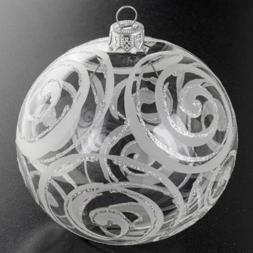 Christmas bauble, transparent glass and silver flower 10cm s2