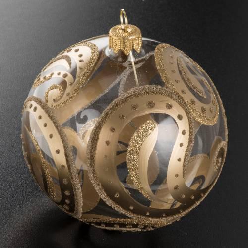 Christmas bauble, transparent with golden drops, 10cm s2