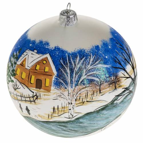 Christmas blown glass bauble with a snow paysage 12cm s1