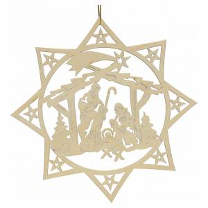 Christmas tree ornaments in wood and pvc: Christmas decoration, wooden star with nativity
