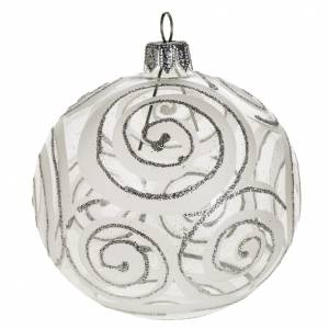Christmas balls: Christmas tree bauble, blown glass silver decorations 8cm